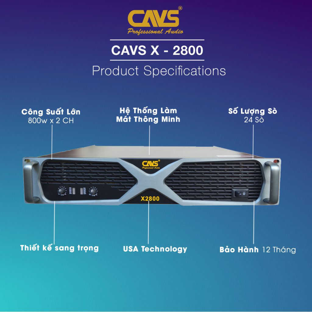 Cục đẩy công suất CAVS X2800 2 kênh