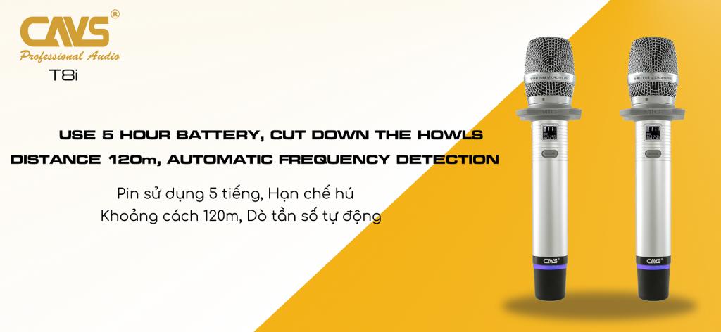 Micro Không Dây CAVS T8i - Micro không dây Karaoke nhập khẩu cao cấp
