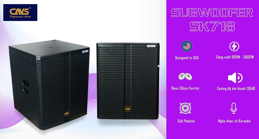 Loa Sub CAVS SK718 bass 50 Passive